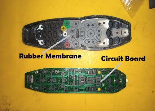Open dstv remote control showing rubber membrane and circuit board