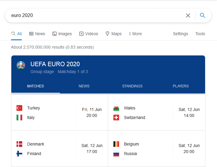 Euro 2020 fixtures and time on Google