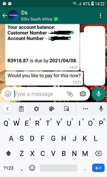 Making DStv payments on WhatsApp